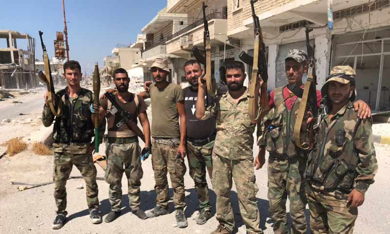 Personnel of the Syrian regime's forces in the city of Khan Shaykhun – August 23, 2019 (Russian journalist Oleg Blokhin)