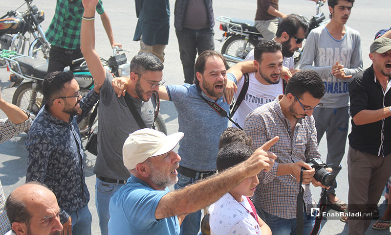Demonstration in Idlib protesting the massacres committed against civilians – August 23, 2019 (Enab Baladi)