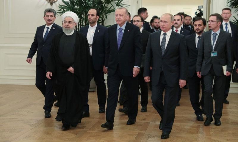 Presidents Vladimir Putin of Russia, Tayyip Erdogan of Turkey and Hassan Rouhani of Iran at a tripartite summit in Ankara- September 16, 2019 (Anadolu)