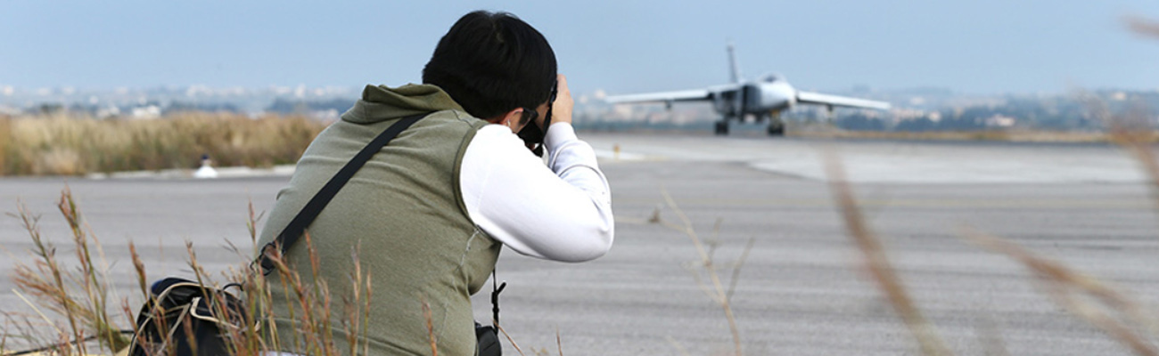 Photographer of foreign news agencies at Khmeimim Air Base in Latakia, 2018 (Russian Defense Ministry)