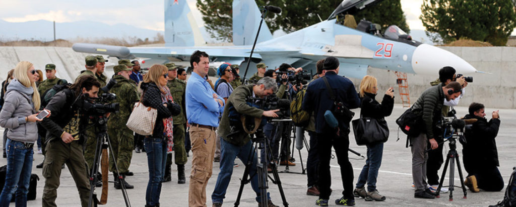 Foreign news agencies at Khmeimim Air Base in Latakia, 2018 (Russian Defense Ministry)