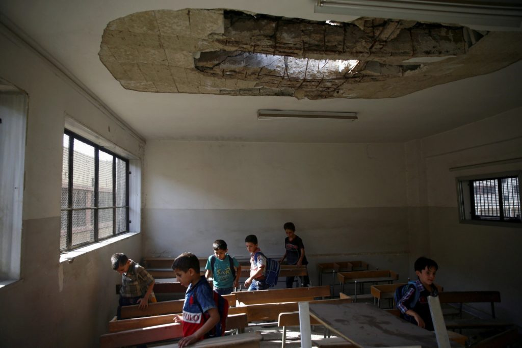 Pupils at a school in the city of Duma, Eastern Ghouta (Reuters)