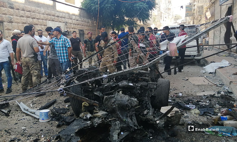 Explosion of a car bomb in Afrin city center, rural Aleppo – September 13, 2019 (Enab Baladi)