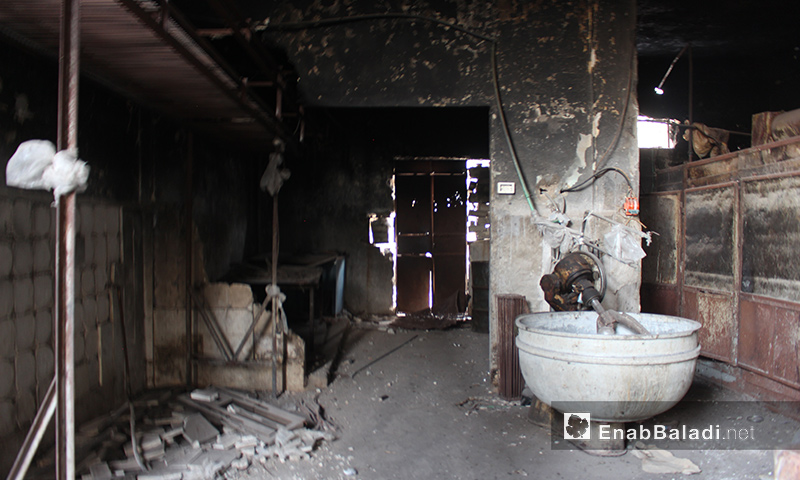 Automatic bakery destroyed due to bombing in Houla Region in northern Homs - April 18, 2018 (Enab Baladi)