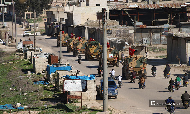 Turkish patrol passing through Idlib a few hours after entering the buffer zone, established under the Sochi deal – March 8, 2019 (Enab Baladi)