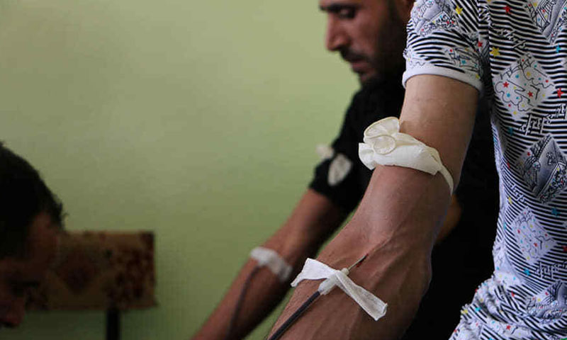 Blood donation campaign conducted by the blood bank in Azaz in Bizaah city to deliver blood to Idlib – June 10, 2019 (Local Council of Bizaah City)