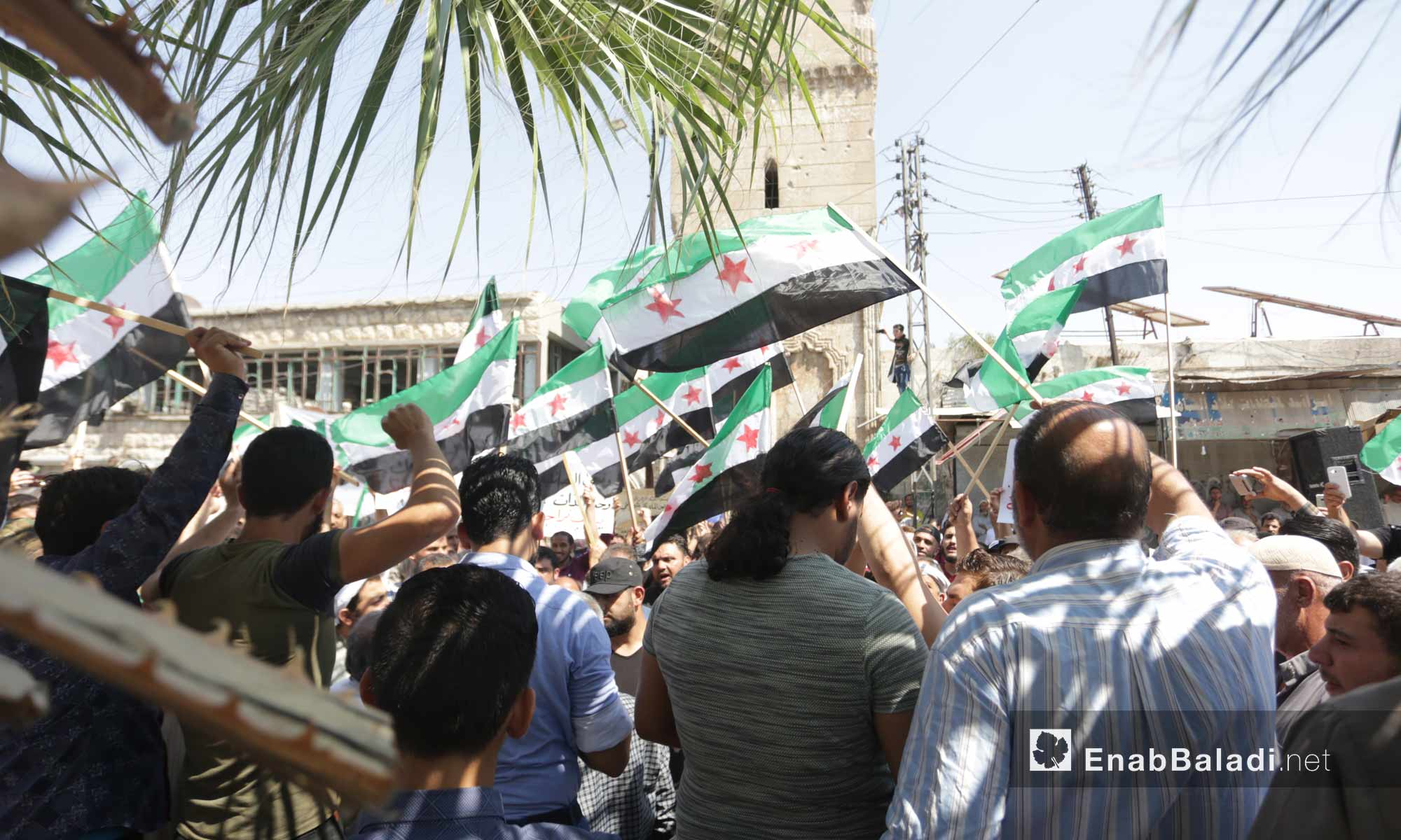 People in Ma`arat al-Nu`man, rural Idlib, protesting against the Sochi deal and demanding the ousting of the Syrian regime – September 6, 2019 (Enab Baladi)