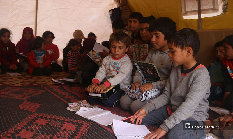 School for displaced children from rural Hama in Idlib countryside camps - November 9, 2018 (Enab Baladi)