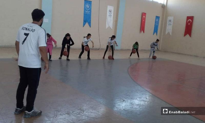 Training for female basketball participants in Afrin stadium- August 23, 2019 (Enab Baladi)