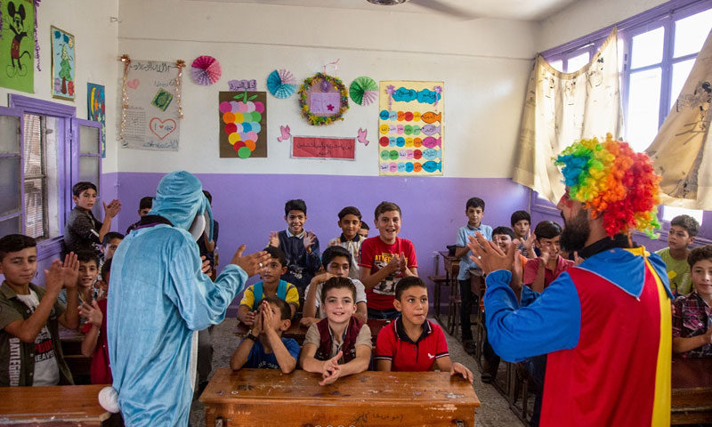 """""""My School Is the Secret to My Happiness"""" campaign in Al-Thawra school in Idlib - October 1, 2019 (Violet Organization Facebook page)"""