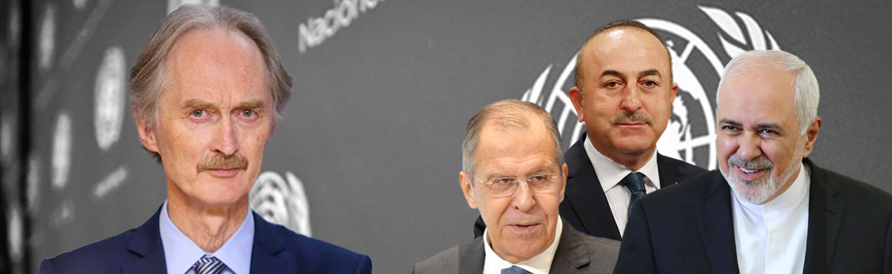 Russia, Turkey and Iran foreign ministers and UN Envoy to Syria (edited by Enab Baladi)