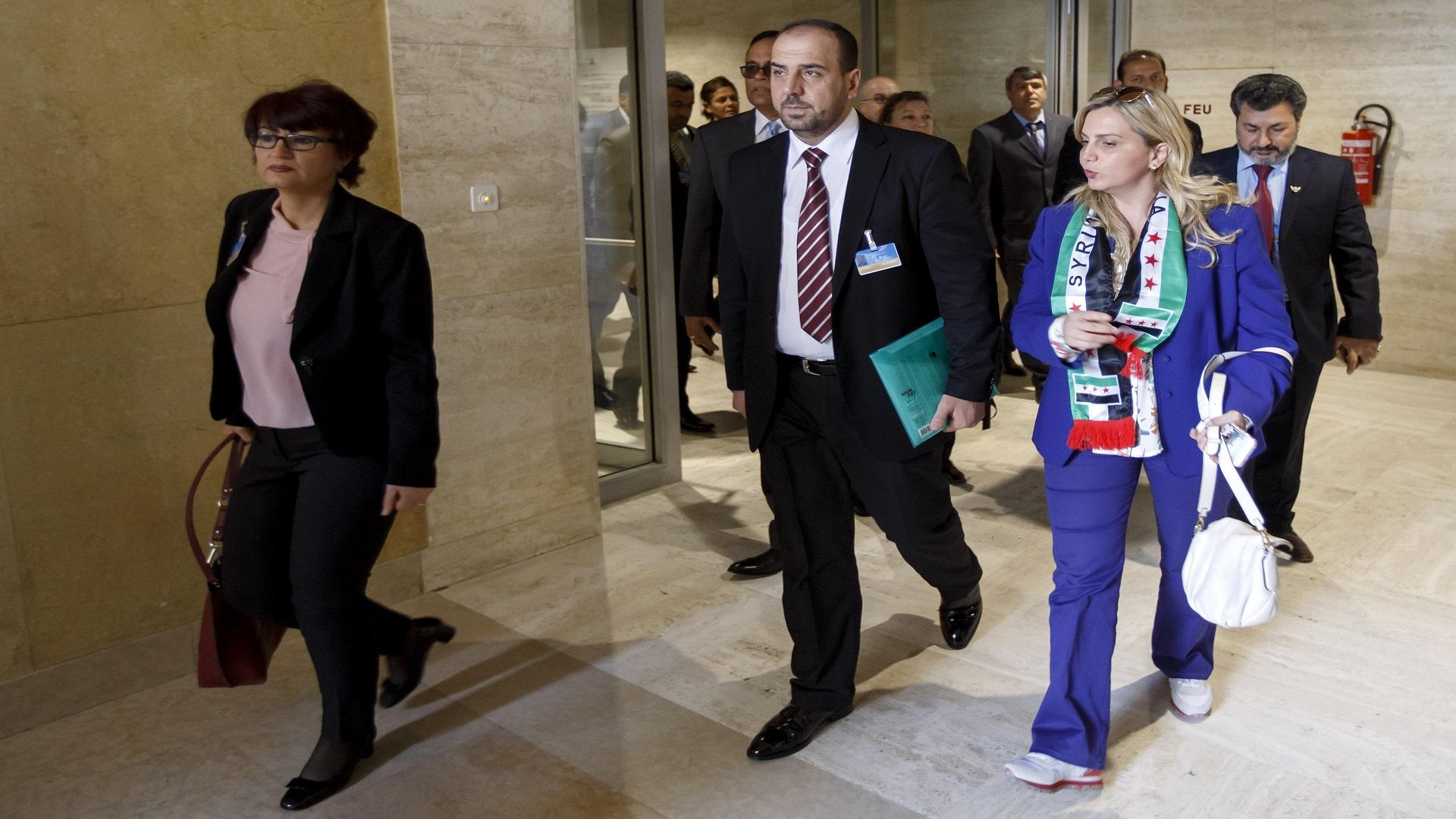 HNC head Nasser al-Hariri at the Geneva negotiations - March 2017 (Reuters)