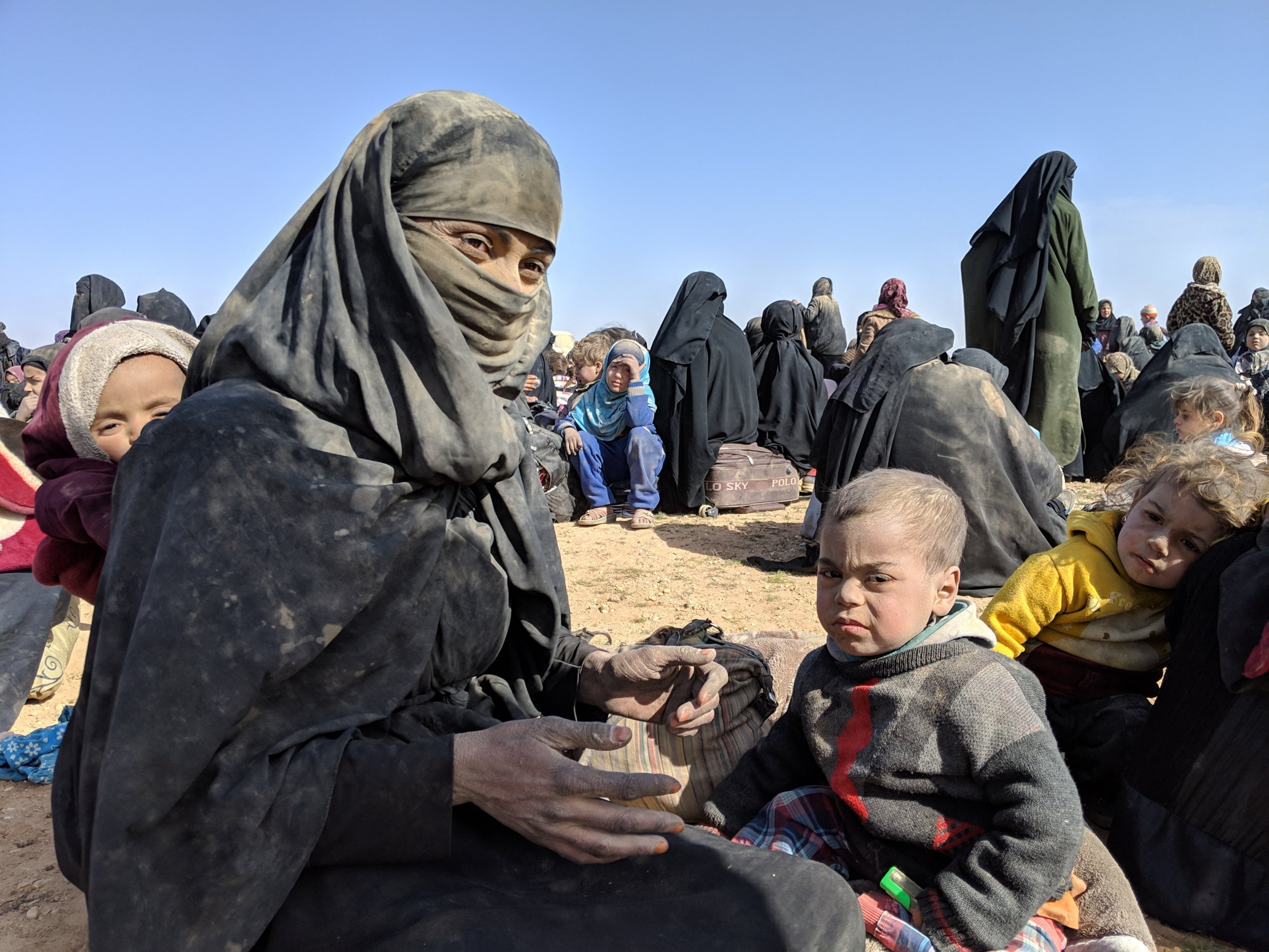 Civilians escaping the SDF battles against ISIS in Baghuz - March 2019 (independent