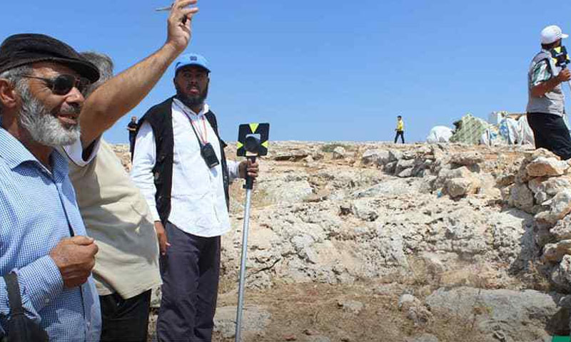 The Technical Services Directorate of the Salvation Government conducts a topographic survey in the area for carrying out a housing project for the displaced in the northern countryside of Idlib, September 22, 2019( Agency of Sham)