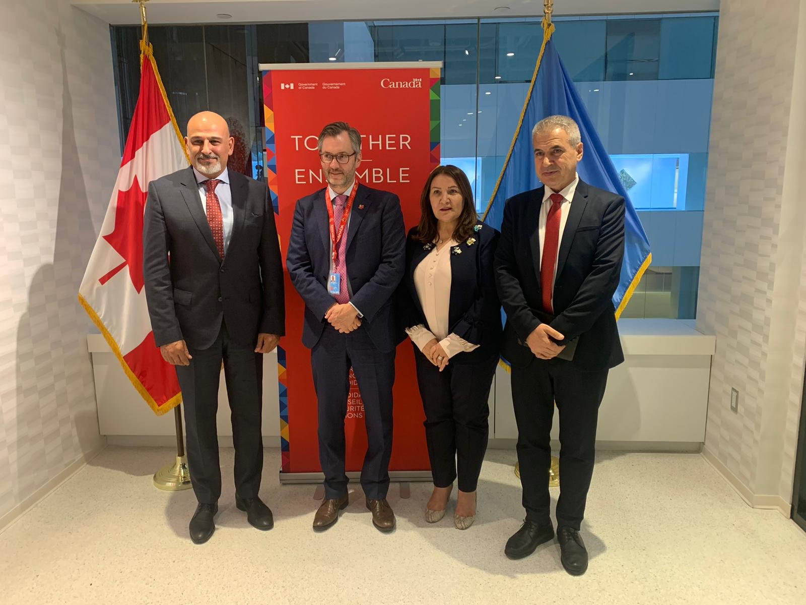 Member of the Syrian Negotiation Committee Jamal Suliman with the Canadian Deputy Foreign Minister in New York - September 2019 (Syrian High Negotiations Committee)