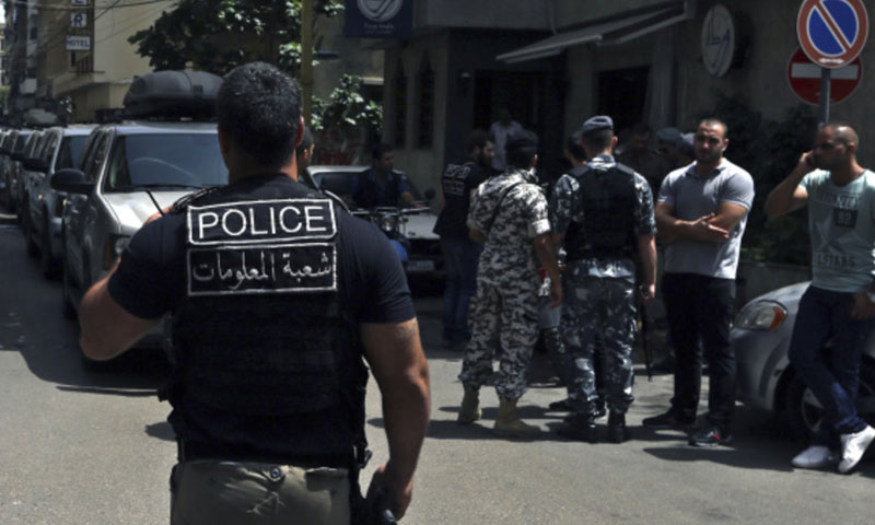 Lebanese security personnel on a street in Beirut (Lebanon 24)