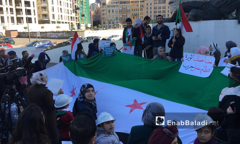 Syrians citizens and activists mark the eighth anniversary of Syria uprising in Martyrs' Square in Beirut, Lebanon - 17 March 2019 (Enab Baladi)