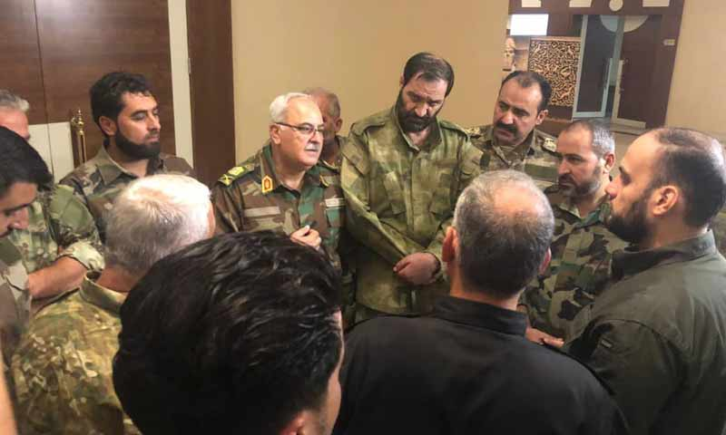 The Minister of Defense under the Syrian Interim Government, Salim Idris, with a number of factions' commanders – October 4, 2019 (Yasser Abdulrahim)