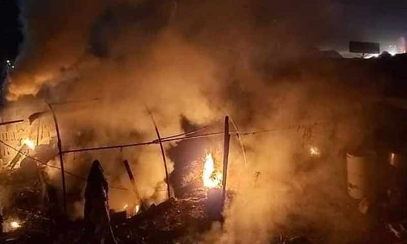 Fires in Qah camp in Syria's Idlib province due to a missile strike by Syrian regime forces - 21 November 2019 (EMC)