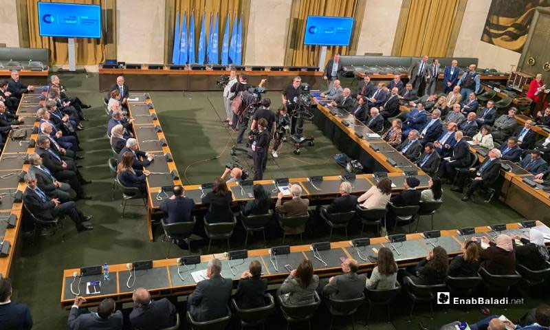 The delegations of the Syrian Constitutional Committee (SCC) are holding a meeting at the United Nations in Geneva, Switzerland - 30 October 2019 (Enab Baladi)