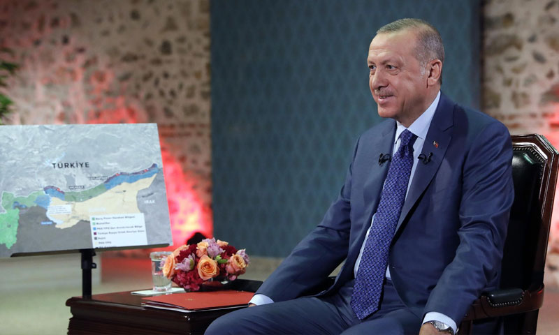 Turkish President Recep Tayyip Erdogan during an interview with TRT -24 October 2019 (AFP)