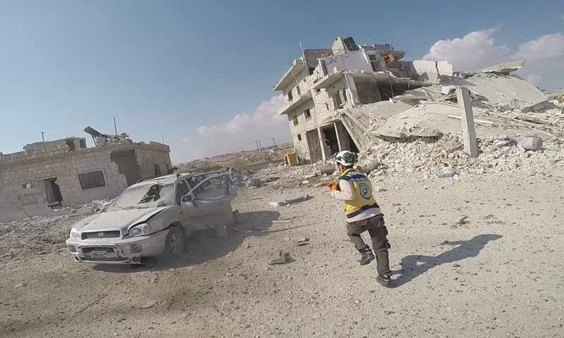 Airstrikes carried out by Russian warplanes targeted civilian houses in the town of Hass, west of Maarat al-Numan, in the southern countryside of Idlib - 31 October 2019 (Syrian Civil Defence)