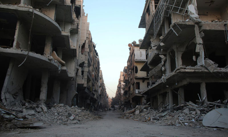 Buildings destroyed after shelling in the district of Harasta northeastern Damascus by Assad's regime, 16 February 2018 (Ghouta Media Center)