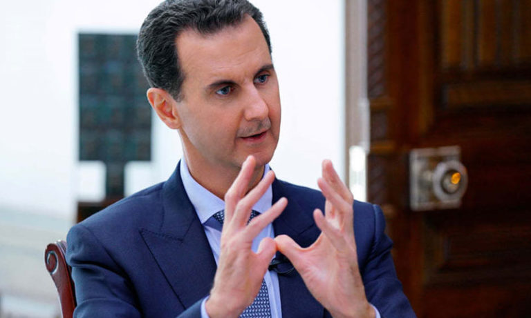 President of the Syrian regime Bashar al-Assad in an interview with the Syrian News Channel, October 31, 2019 (Presidency of the Republic of Syria)
