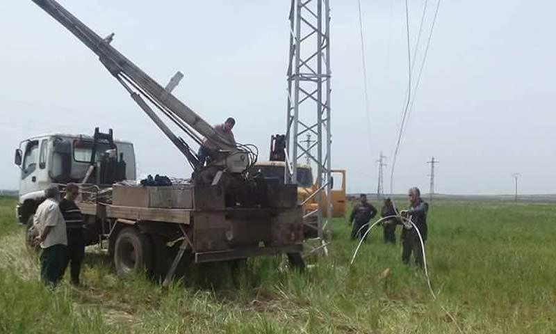 The electricity company's workshops near transmission line 66 in Daraa - April 2018 (Daraa Electricity Directorate)