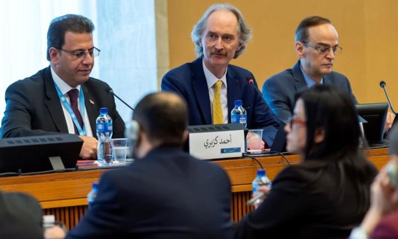 Head of the opposition delegation Hadi al-Bahra, UN Envoy Geir Pedersen and Head of the regime's delegation Ahmed al-Kuzbari