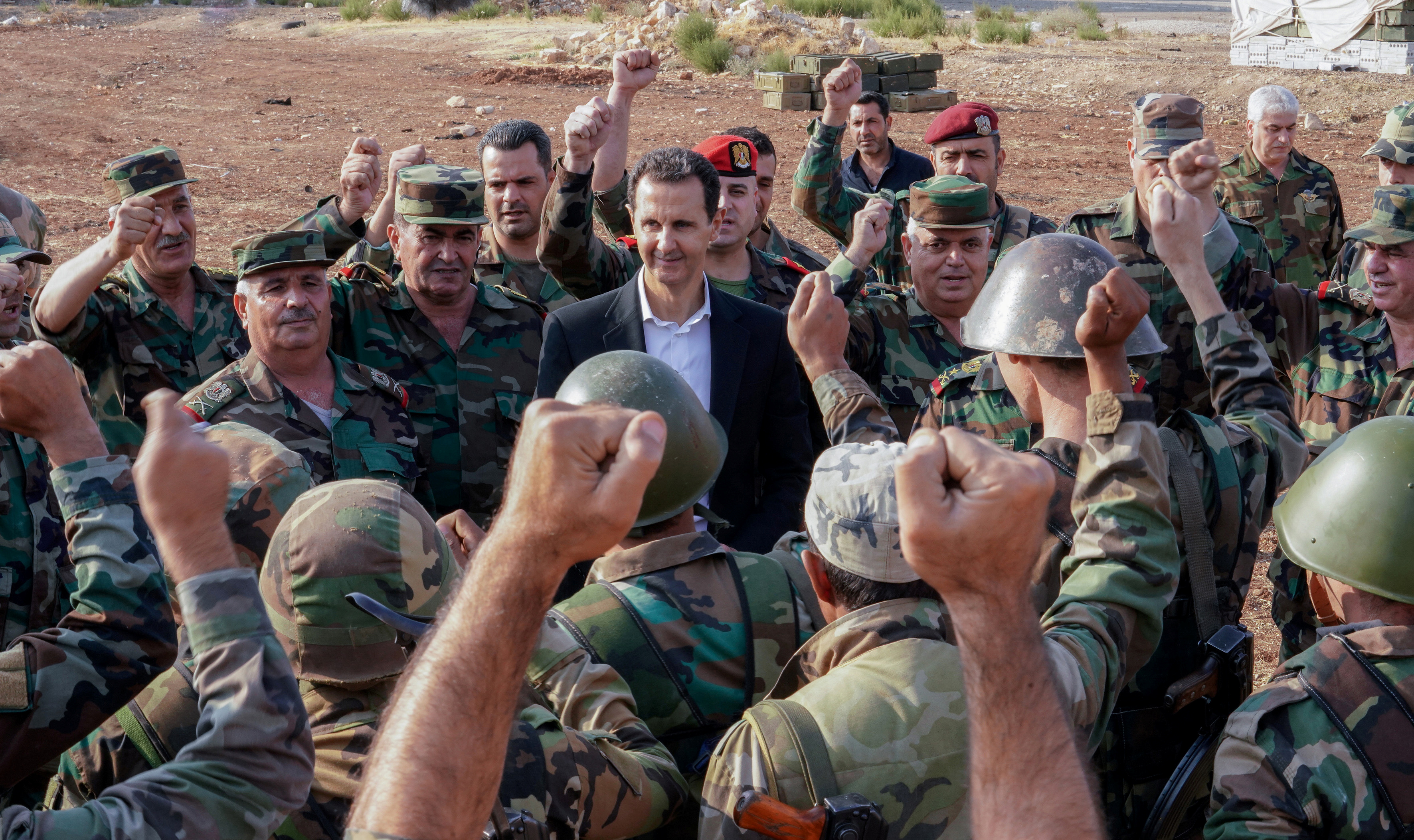 President of the Syrian regime Bashar al-Assad with his army members in Idlib countryside - October 2019 (SANA)