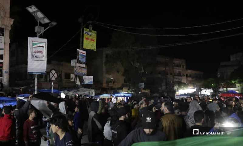 Night demonstrations in Idlib city against the increase of electricity and bread prices from the Salvation Government - November 2, 2019 (Enab Baladi)