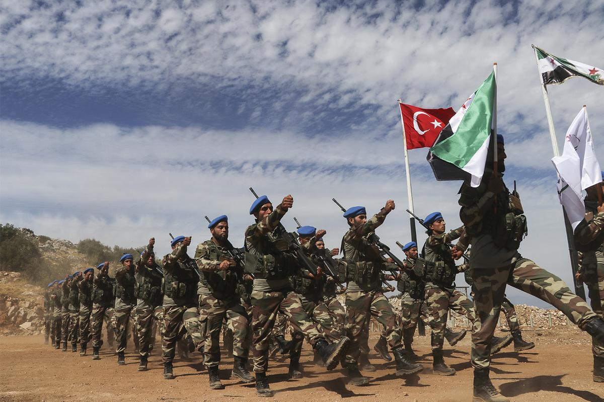 """National Army"" elementsin a training camp in Aleppo northern countryside (Anadolu Agency)"