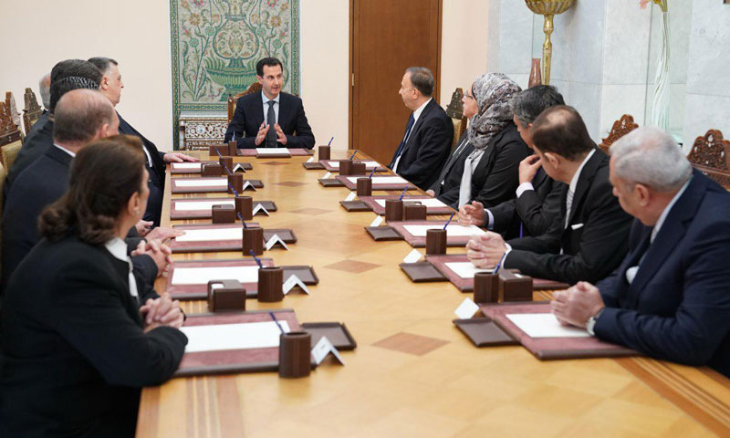 Al-Assad's meeting with the Supreme Constitutional Court members - May 13, 2018 (Syrian Presidency)