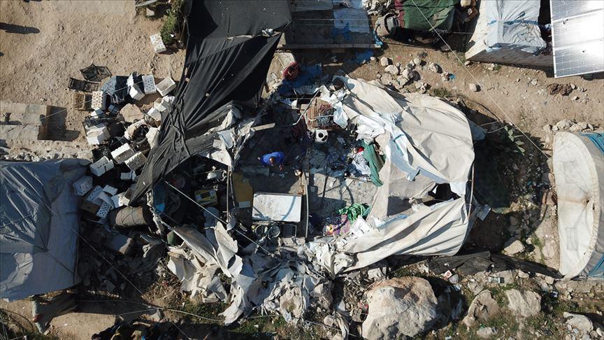 The impact of the missile strike on Qah IDP camp near the Turkish-Syrian border (Anadolu)