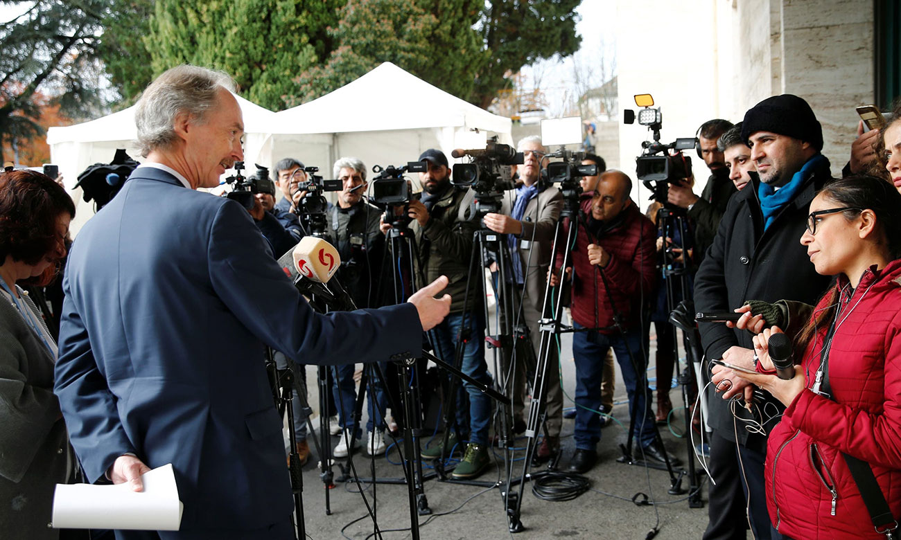 UN special envoy to Syria, Geir Pederson, talking about the meetings of the Constitutional Committee in Geneva – November 29, 2019 (Reuters)