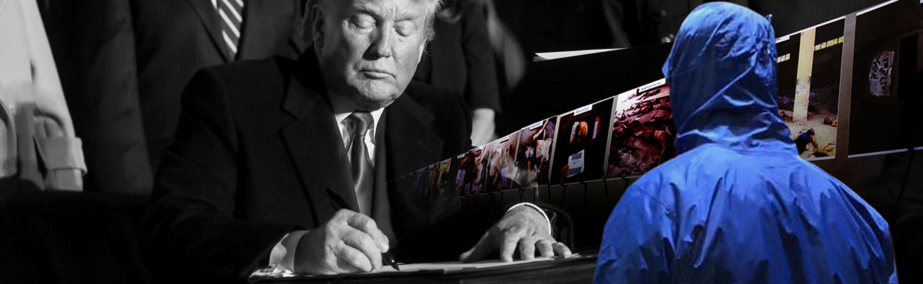 US President Donald Trump signing the National Defense Authorization Act that includes the Caesar Act- December 20, 2019 (Reuters – edited by Enab Baladi)