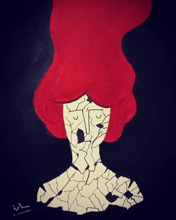 """One of Sara Khayat's works on Psychological violence, made for the global campaign """"16 Days of Activism against Gender-Based Violence""""."""