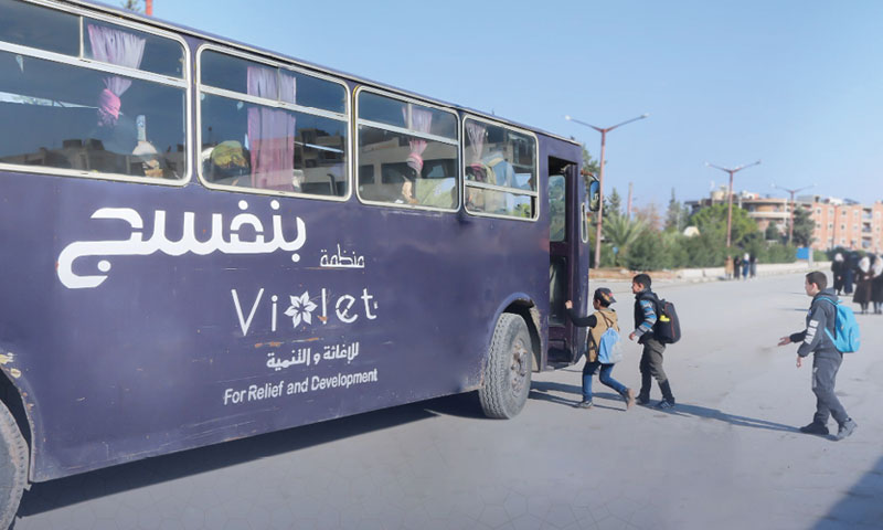 Violet Organization launches the free al-Khari Bus in Idlib city - 10 December 2019 (Violet Facebook page)