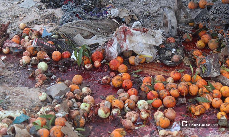 The effects of the bombardment of the al- Hal market in Saraqib city in rural Idilb - 2 December 2019 (Enab Baladi)