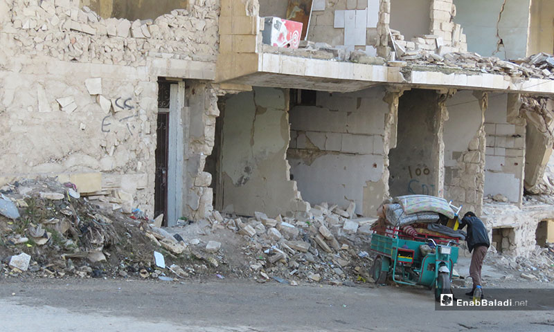 Destruction caused by airstrikes and shelling in Maaret al-Numan on 18 December