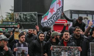 Demonstrators protesting near the Russian consulate in Istanbul