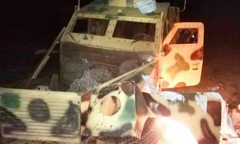Military vehicle targeted in Jarabulus countryside of Aleppo, 4 December 2019 ( al-Mohrar media)