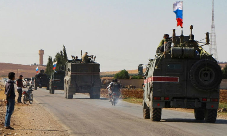 Russian military police carrying out patrols at the Syrian-Turkish borders - October 23, 2019 (AFP)