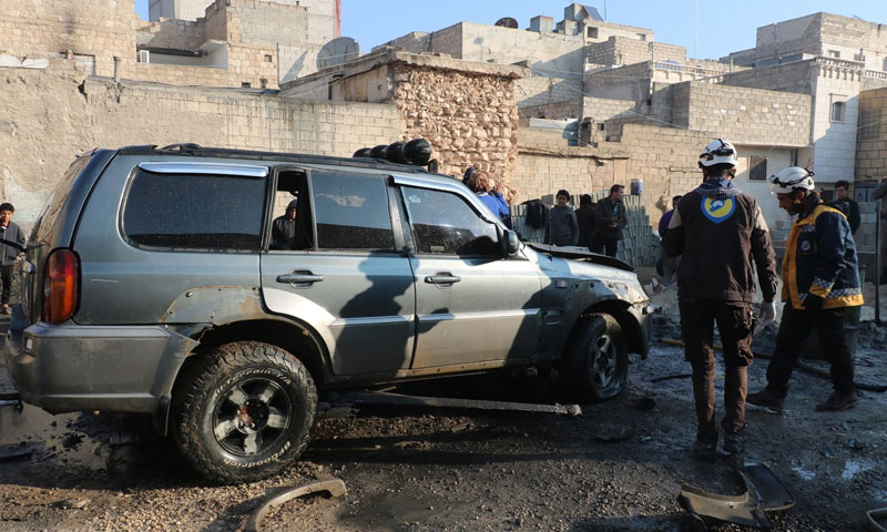 Blast of an improvised explosive device placed inside a private vehicle in the city of al-Bab, east of Aleppo, 28 November 2019 (Syrian Civil Defense)