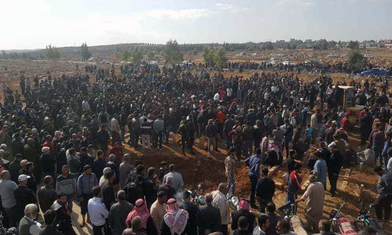 Hundreds going to the funeral oftwo former opposition members in Daraa al-Balad November29, 2019 (Ahrar Horan gathering)