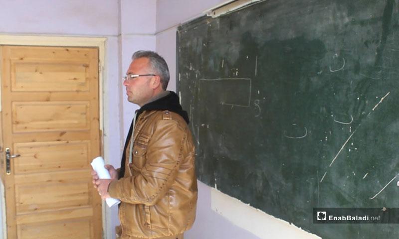 Teacher in a school in Idlib countryside - 2019 (Enab Baladi)