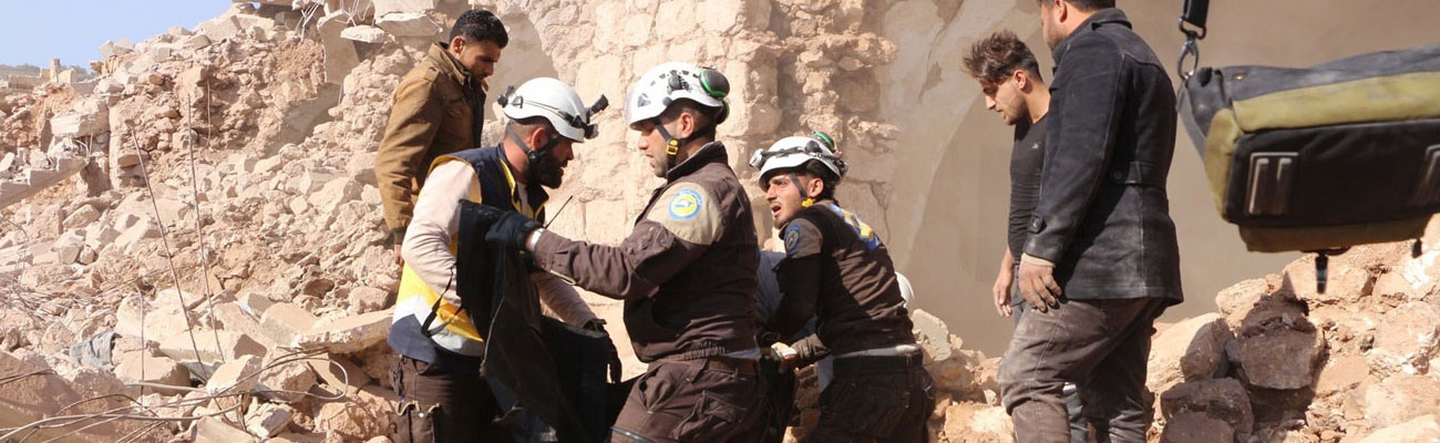 Civilians killed as a result of Russian warplanes targeting al-Malha village in the southern countryside of Idlib in an air strike inside their houses November 17, 2019 (Civil Defense Twitter Account)