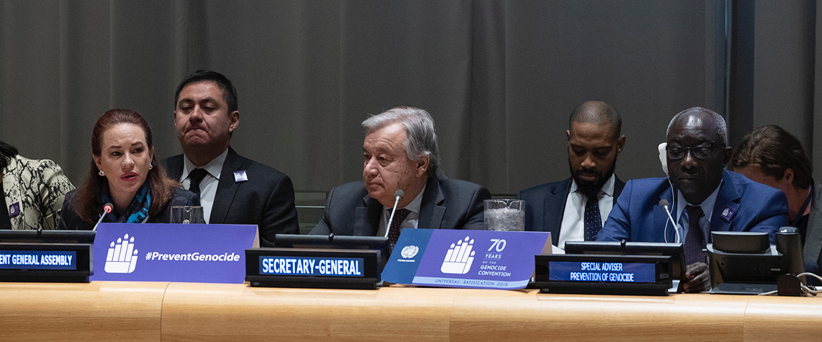 UN Secretary-General, Antonio Guterres on the International Day of Commemoration and Dignity of the Victims of the Crime of Genocide and of the Prevention of this Crime at the United Nations headquarters - 9 December 2018 (UN)