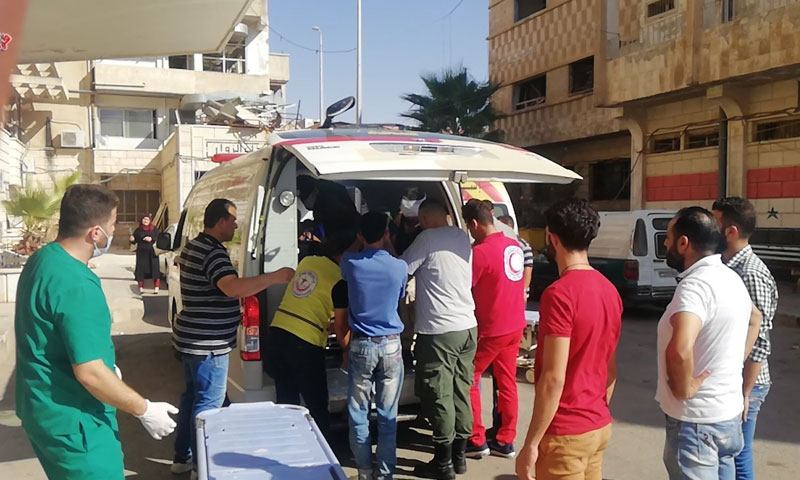 Transporting the wounded to Daraa's National Hospital on 31 August 2019 (Firas al-Ahmad Sama TV correspondent)